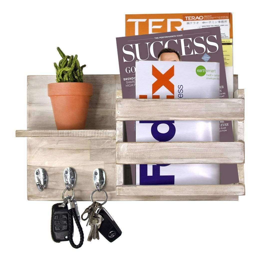 Made Terra Wall-mounted Shelves Whitewash Rustic Wooden Wall Hanging Organizer, For Mail, Keychain, Strap Hanging Hooks, Coat Rack, Newspaper & Letter Storage, Floating Shelf For Rustic Home Decor