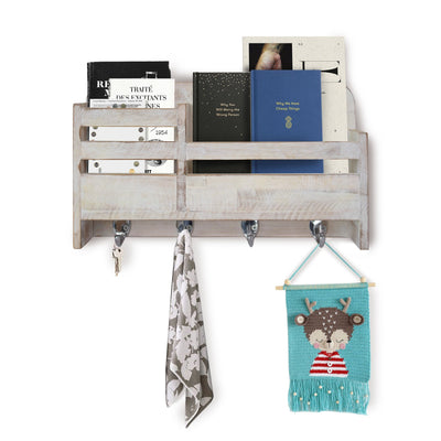 Made Terra Wall-mounted Shelves Whitewash / Whitewash (pattern 2) Wooden 2-Slot Mail Sorter Envelope Organizer Wall Mount, Key Holder Hooks, Leash Hanging, Coat Rack, Letter & Newspaper Storage, Rustic Countryside Entryway, Entry Room, Hallway, Mudroom, Home Decor