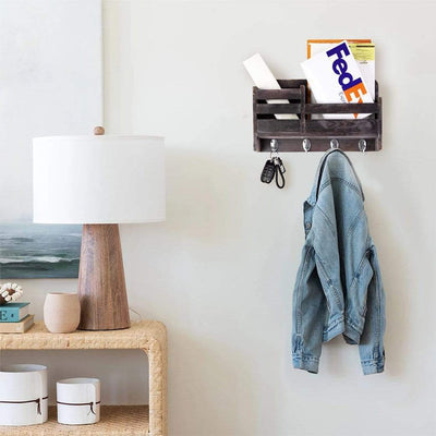 Made Terra Wall-mounted Shelves Wooden 2-Slot Mail Sorter Envelope Organizer Wall Mount, Key Holder Hooks, Leash Hanging, Coat Rack, Letter & Newspaper Storage, Rustic Countryside Entryway, Entry Room, Hallway, Mudroom, Home Decor