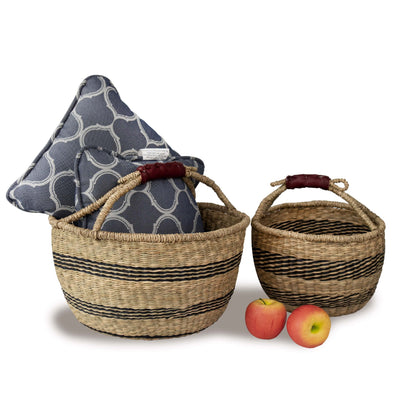 Made Terra Wicker Basket Set 2 Natural Wicker Bolga Basket | Woven Picnic & Market Baskets with Handles