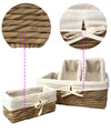 Made Terra Wicker Basket Set 4 (1 Large + 3 Small) Storage Container Baskets with Liner - Water Hyacinth | Multi-funtional storage solution