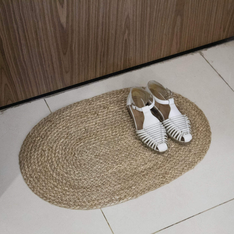 MadeTerra Door mat Natural Oval Woven Indoor Doormat Natural Seagrass Non Slip Resist Dirt Entrance Rug Entry Way Welcome Doormat Floor Mat Rug For Patio Front Door 60X40cm