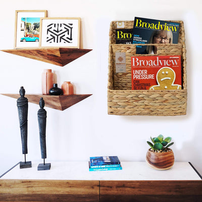 MadeTerra magazine rack Wall Mount Wicker Magazine and Newspaper Holder with Metal Frame, Mail Sorter Rack, Wire Woven Rustic Farmhouse File Wall Hanging Organizer for Home and Office