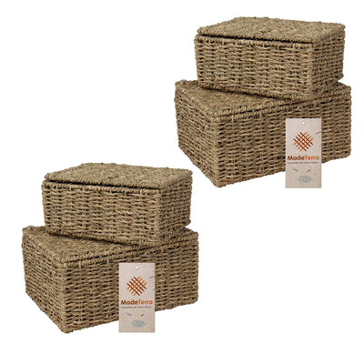 madeterra.uk Basket with lid MadeTerra Set of 4 Rectangular Nesting Wicker Storage Boxes with Lids and Metal Steel Frame, Straw Wire Woven Storage Basket Organiser for Home, Kids, Toys, Shelves