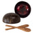 madeterra.uk coconut bowl Red Set 2 Fancy Coconut Bowls and Wooden Spoons | Vegan Organic Salad Cereal Smoothie Buddha Acai Bowl for Kitchen, Dining and Decoration