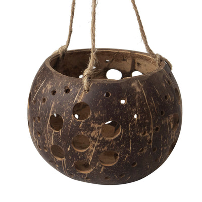 madeterra.uk coconut candle holder Flower Pattern MadeTerra Coconut Hanging Candle Holder Lantern Birdcage Shape Ceiling Candle Tealight Holders, Decorative Rustic Coco Jar Candle Light Holder for Garden Spa Dining Party Home Decor