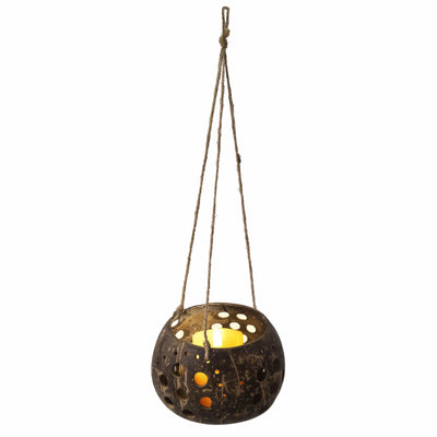 madeterra.uk coconut candle holder MadeTerra Coconut Hanging Candle Holder Lantern Birdcage Shape Ceiling Candle Tealight Holders, Decorative Rustic Coco Jar Candle Light Holder for Garden Spa Dining Party Home Decor