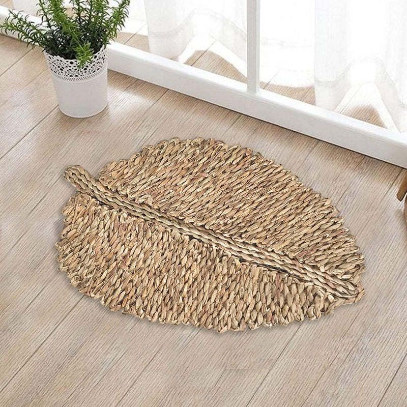 madeterra.uk Leaf Shaped Woven Doormat Natural Seagrass Non Slip Resist Dirt Entrance Rug Entry Way Welcome Doormat Floor Mat Rug for Patio Front Door Indoor Outdoor 60X40 cm