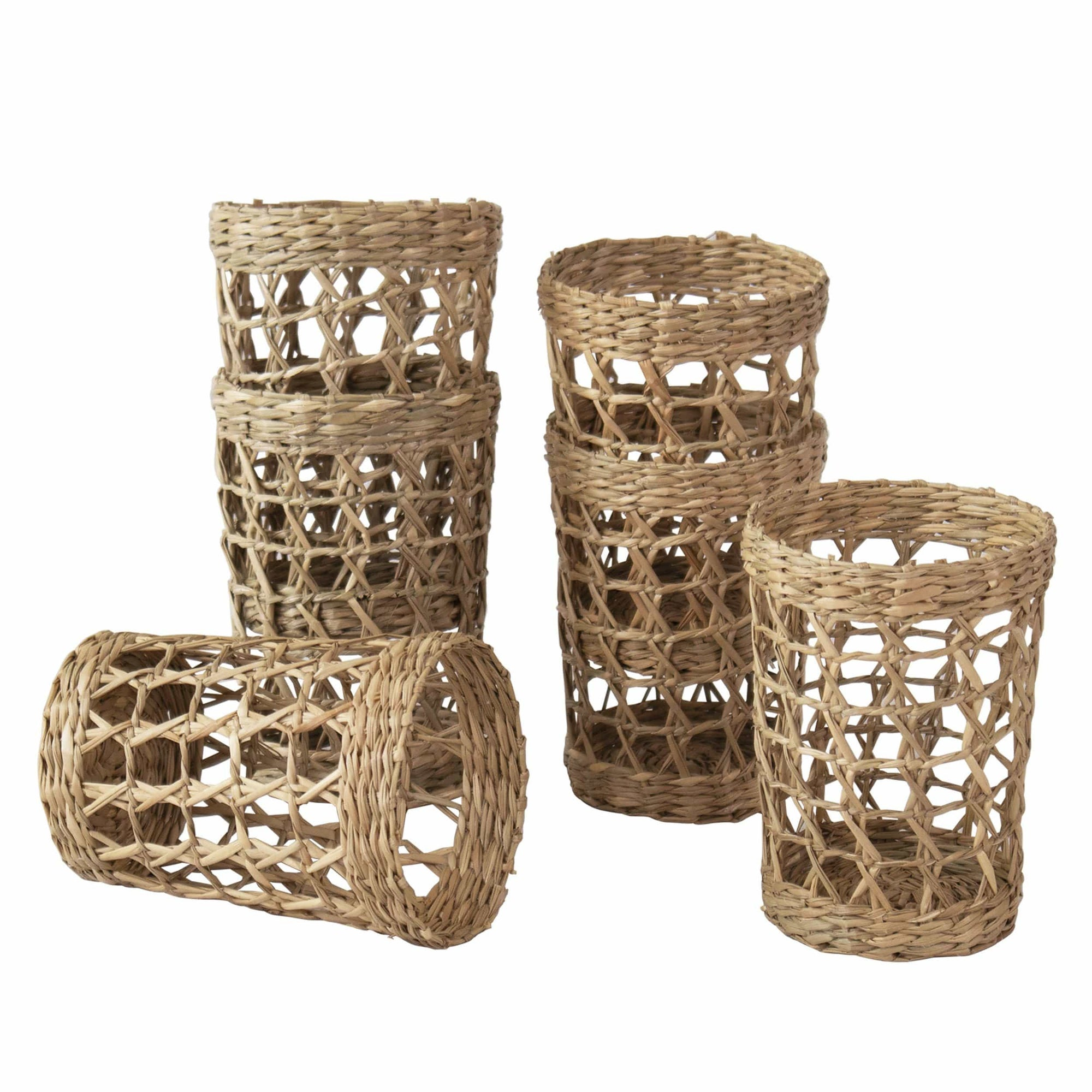 madeterra.uk Glassware Set of 6 Pack Wicker Woven Cup Holders Heat Resistant Hand Woven Drink Glass Cup Holder Chic Rustic Countryside Dining Table Kitchen Decor  (No glass cup)