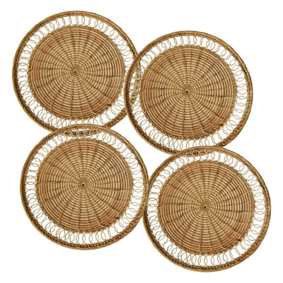 "madeterra.uk Placemats Flower Set of 4 Pack Rattan Woven Placemats 33 cm (13"") for Dining Table, Round Braided Place Mat Handmade Natural Seagrass Wicker Placemat Heat Resistant Hot Insulation Anti-Skidding Non-Slip"