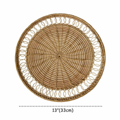 "madeterra.uk Placemats Set of 4 Pack Rattan Woven Placemats 33 cm (13"") for Dining Table, Round Braided Place Mat Handmade Natural Seagrass Wicker Placemat Heat Resistant Hot Insulation Anti-Skidding Non-Slip"