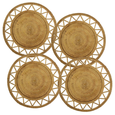 "madeterra.uk Placemats Star Set of 4 Pack Rattan Woven Placemats 33 cm (13"") for Dining Table, Round Braided Place Mat Handmade Natural Seagrass Wicker Placemat Heat Resistant Hot Insulation Anti-Skidding Non-Slip"