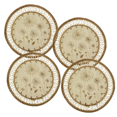 "madeterra.uk Placemats Wooden floral Set of 4 Pack Rattan Woven Placemats 33 cm (13"") for Dining Table, Round Braided Place Mat Handmade Natural Seagrass Wicker Placemat Heat Resistant Hot Insulation Anti-Skidding Non-Slip"