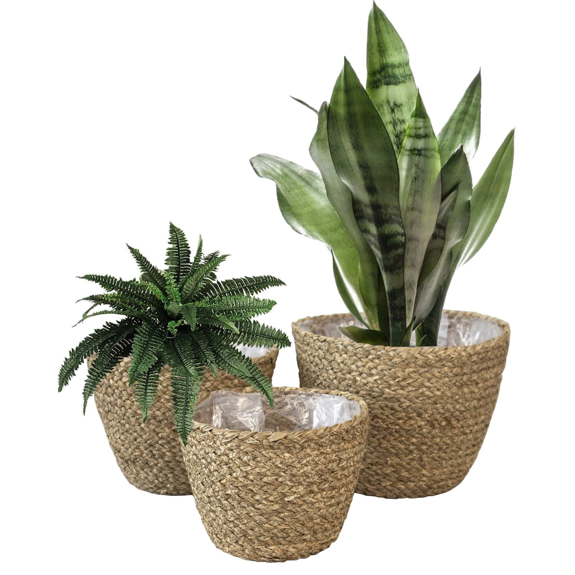 madeterra.uk Plant pot Seagrass Set 3 Woven Plant Pot Basket Indoor Planters, Natural Seagrass Willow Wicker Flower Planter Pot Container Basket for Home Garden Rustic Countryside Decor
