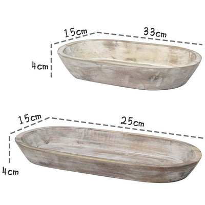 madeterra.uk Serving Tray Set 2 33 and 25 cm Acacia Wooden Oval Serving Platters Trays, Handmade Chic Decorative Rustic Storage Tray Dishwasher Safe Party Platters for Serving Bread, Fruit, Coffee Table, Afternoon Tea Desserts