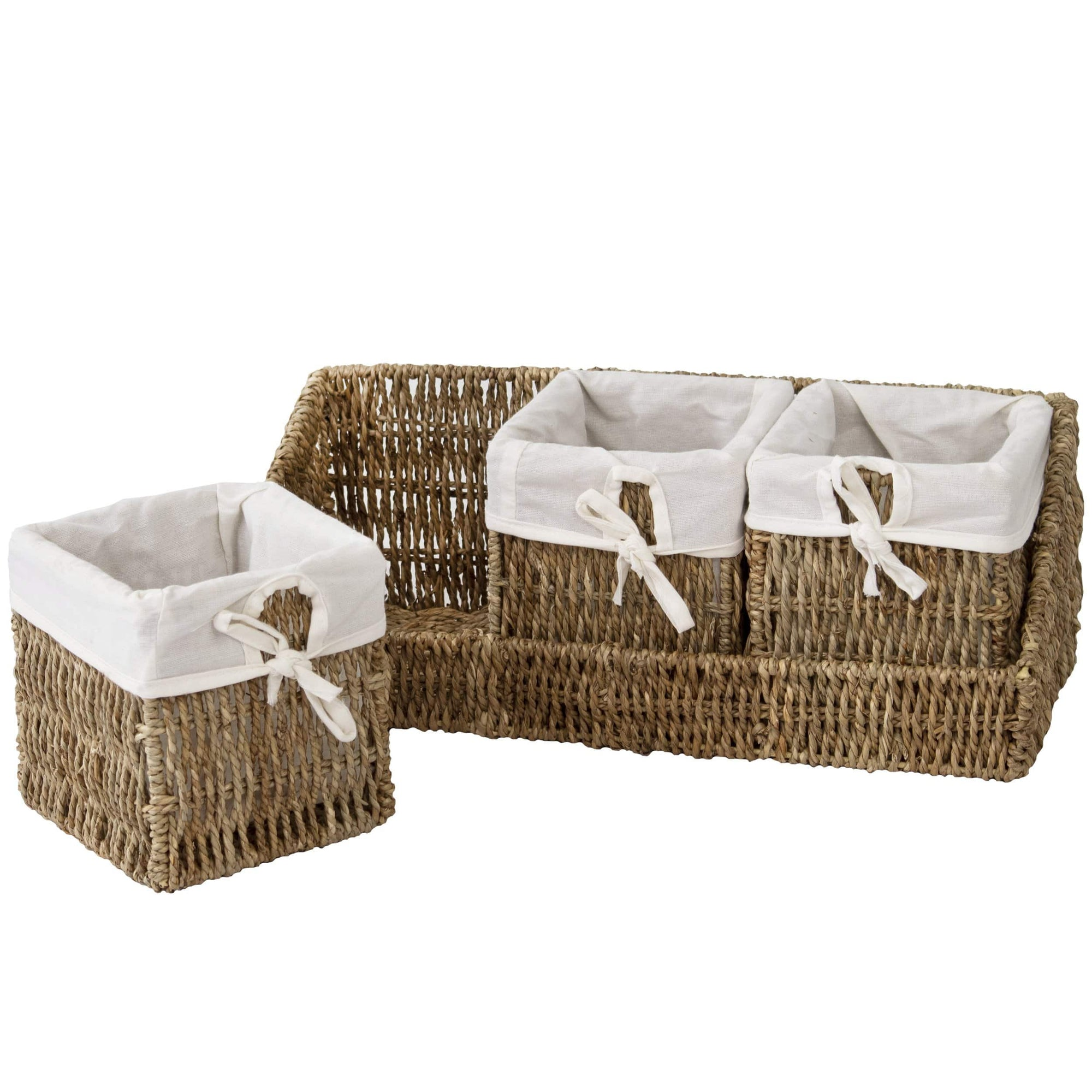 madeterra.uk Storage basket Natural Wall-mount Wicker Shelf w 3 Storage Baskets | Tray and Removable Liners, Nesting Wall Organisation Container