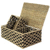 madeterra.uk Storage basket Seagrass Set 3 Wicker Storage Basket Bins with Lid and Handle for Home Organization Decor | Closet Wicker Lidded Baskets for Shelves w Insert Handles | Straw Wire Woven Storage Organizer for Kitchen, Pantry