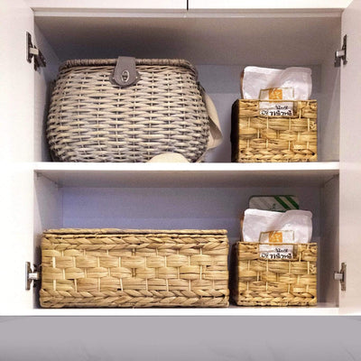 madeterra.uk Storage basket Set 3 Wicker Storage Basket Bins with Lid and Handle for Home Organization Decor | Closet Wicker Lidded Baskets for Shelves w Insert Handles | Straw Wire Woven Storage Organizer for Kitchen, Pantry