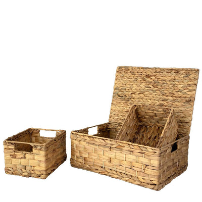 madeterra.uk Storage basket Waterhycinth Set 3 Wicker Storage Basket Bins with Lid and Handle for Home Organization Decor | Closet Wicker Lidded Baskets for Shelves w Insert Handles | Straw Wire Woven Storage Organizer for Kitchen, Pantry