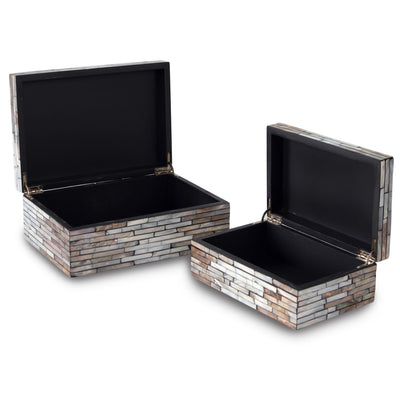 madeterra.uk Storage Box Set 2 Mother of Pearl Inlay Multi Functional Storage Box Organisers with Lid, Storage and Carrying Case for Small Items and Home Decor