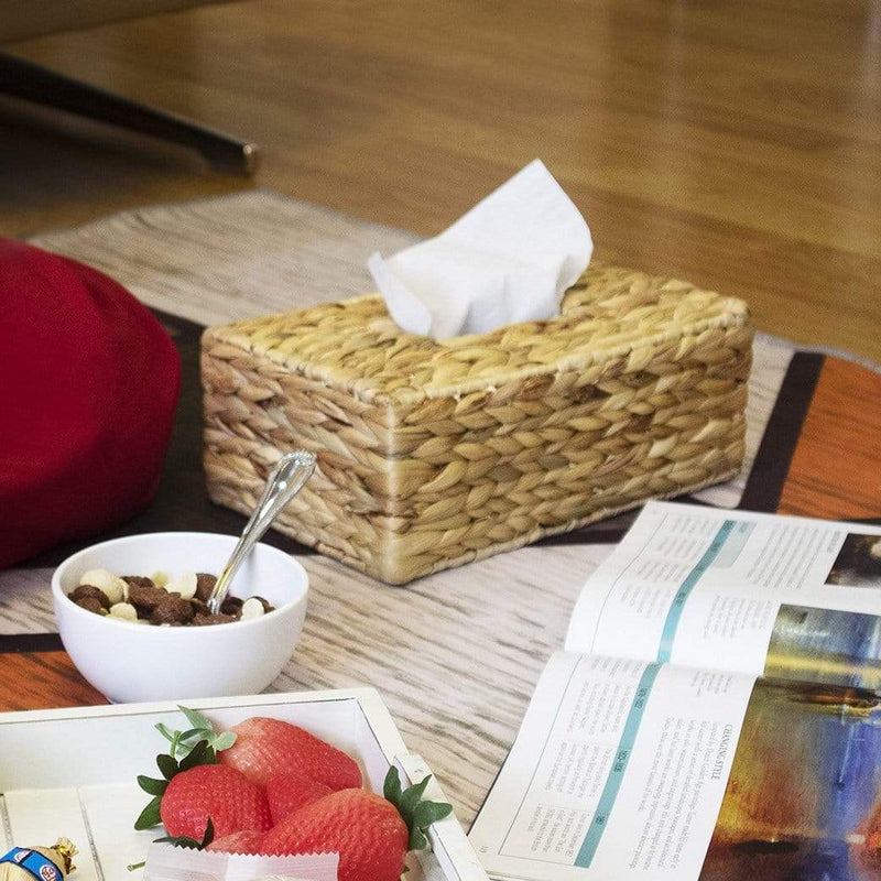 madeterra.uk Tissue Box Cover Waterhycinth Square Wicker Tissue Box Cover | Decorative Paper & Napkin Holder Dispenser