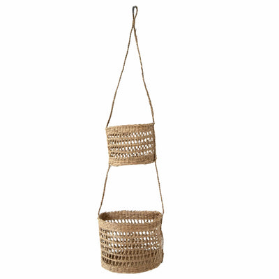 madeterra.uk Wall Basket 2 Tier Half Moon Woven Wall Hanging Baskets For Storage and Plant Pot Holder | Natural Seagrass Willow Wicker Fruit Bread Storage and Wall Basket Hanging Planters Flower Pot Container for Home Garden