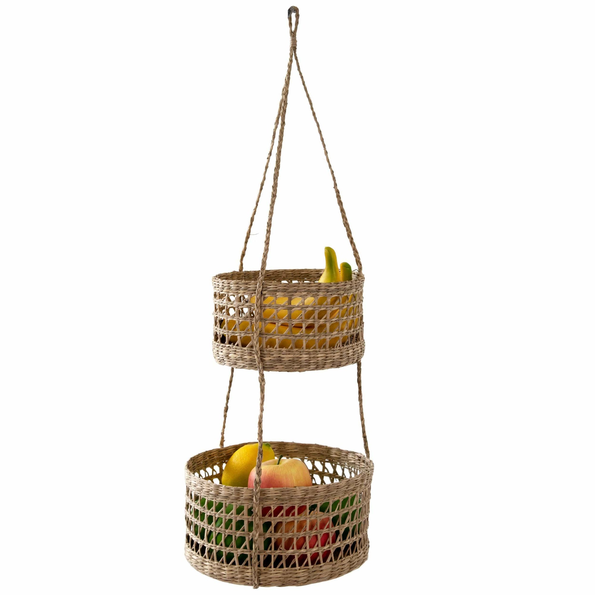 madeterra.uk Wall Basket 2 Tier Round Woven Wall Hanging Baskets For Storage and Plant Pot Holder | Natural Seagrass Willow Wicker Fruit Bread Storage and Wall Basket Hanging Planters Flower Pot Container for Home Garden