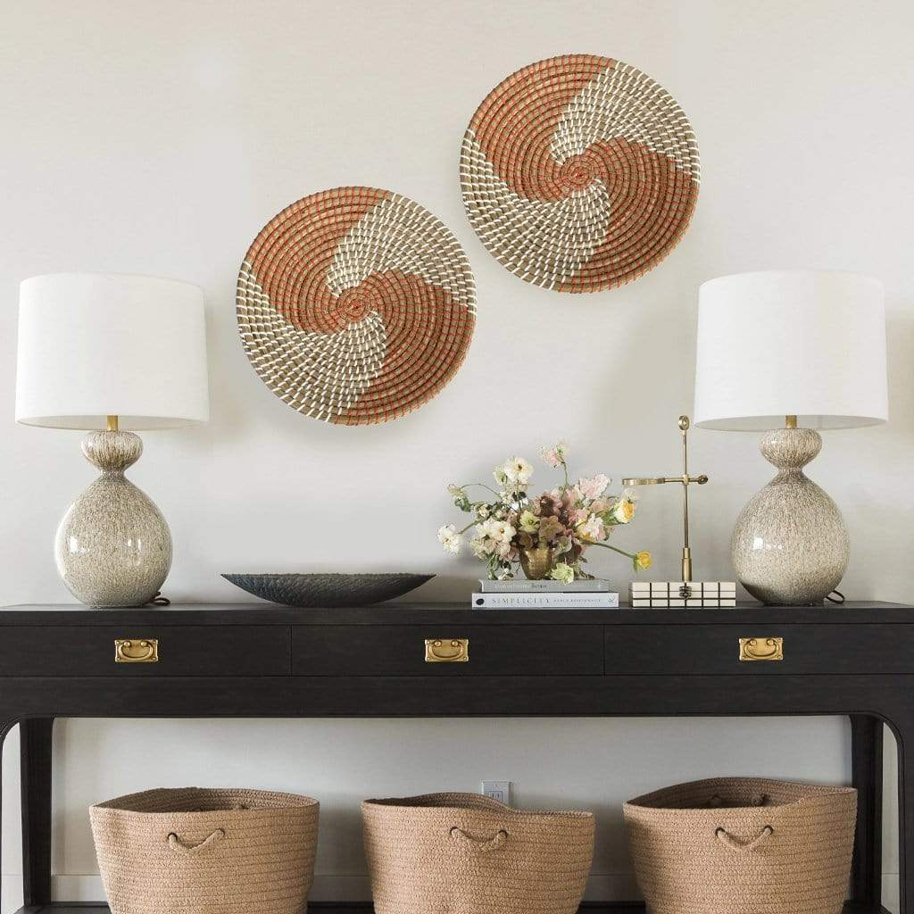 madeterra.uk Wall Basket Brown Spiral Natural Woven Fruit Basket Bowl | Handmade Seagrass Decorative Bowl Chic Rustic Boho Decor Wall Hanging | Great Housewarming Gift