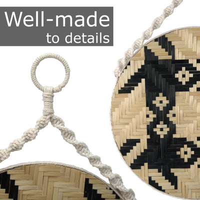madeterra.uk Wall macrame Large Round Macrame Wood Wall Art Hanging | Wall Hanging Boho Wood Art | Round Wooden Modern Wood Art Wall Mounted Fiber Art (Pattern 2)