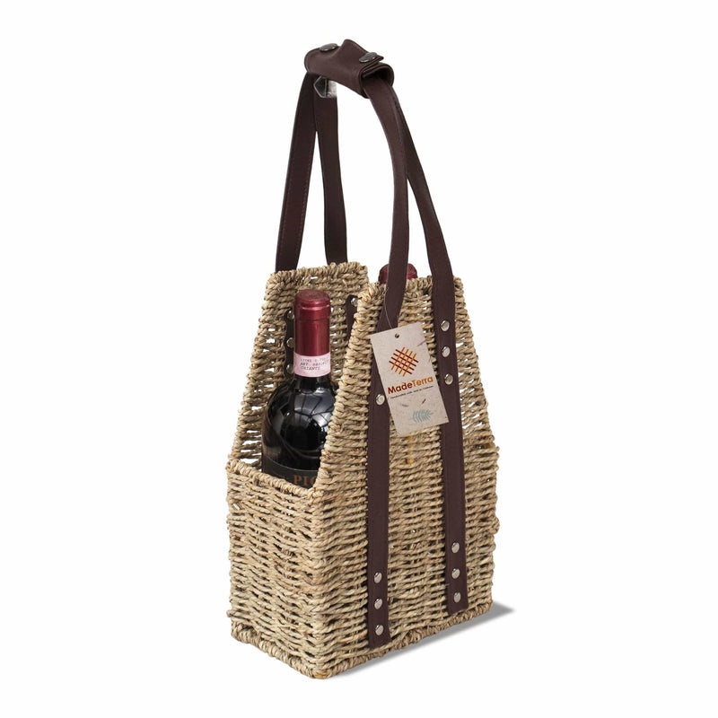 MadeTerra Wine Bottle Holder Made Terra Seagrass Wicker 4 Bottle Wine Holder and Carrier Beer and Wine Caddy Rustic Farmhouse Organiser