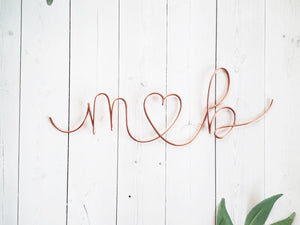Cursive Initials Heart Sculpture