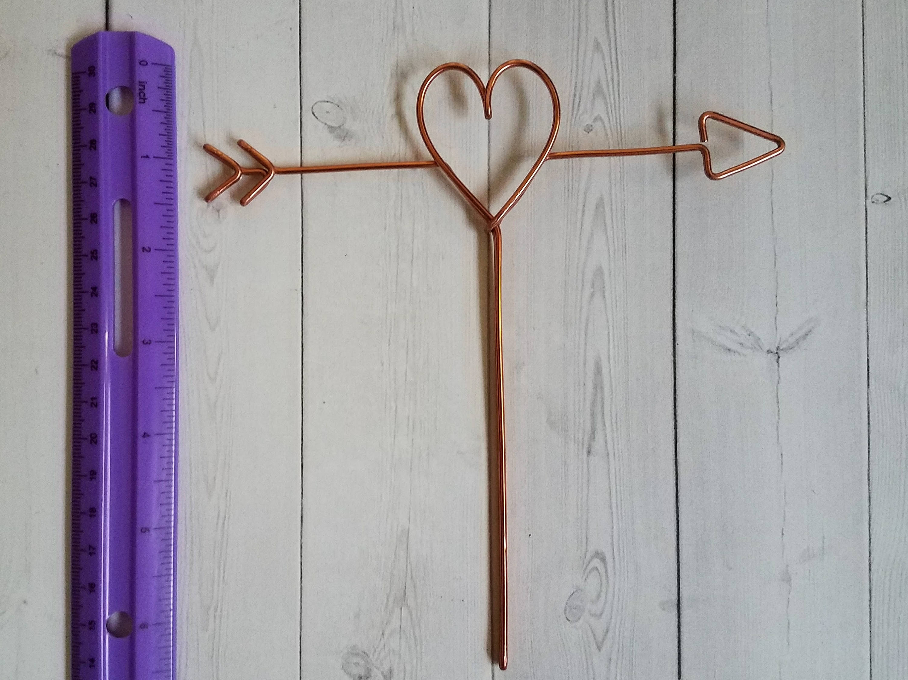 Arrow and Heart Rustic Wire Cake Topper