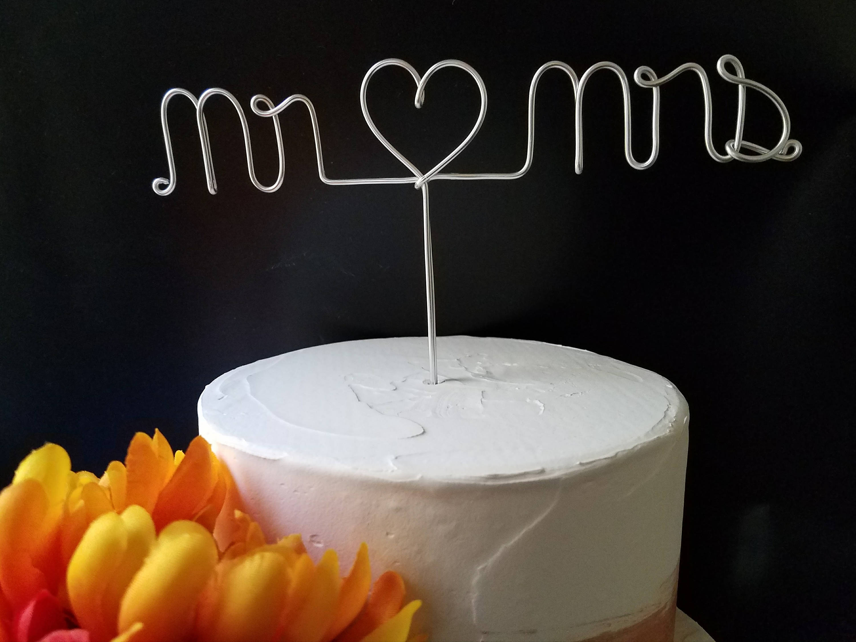 Mr Heart Mrs Rustic Wire Cake Topper