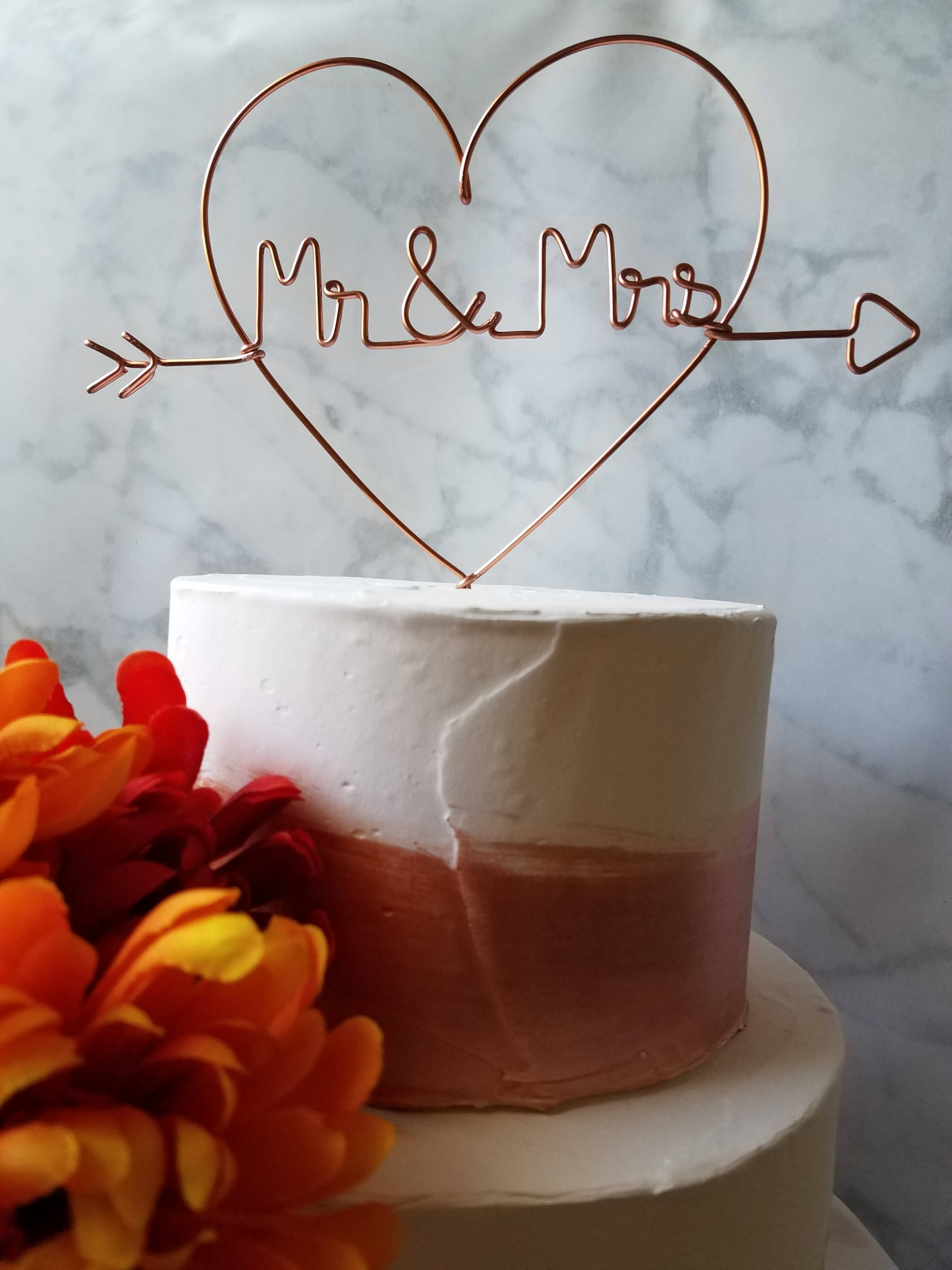 Heart Mr and Mrs Rustic Wire Cake Topper