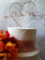 Load image into Gallery viewer, Heart Mr and Mrs Rustic Wire Cake Topper