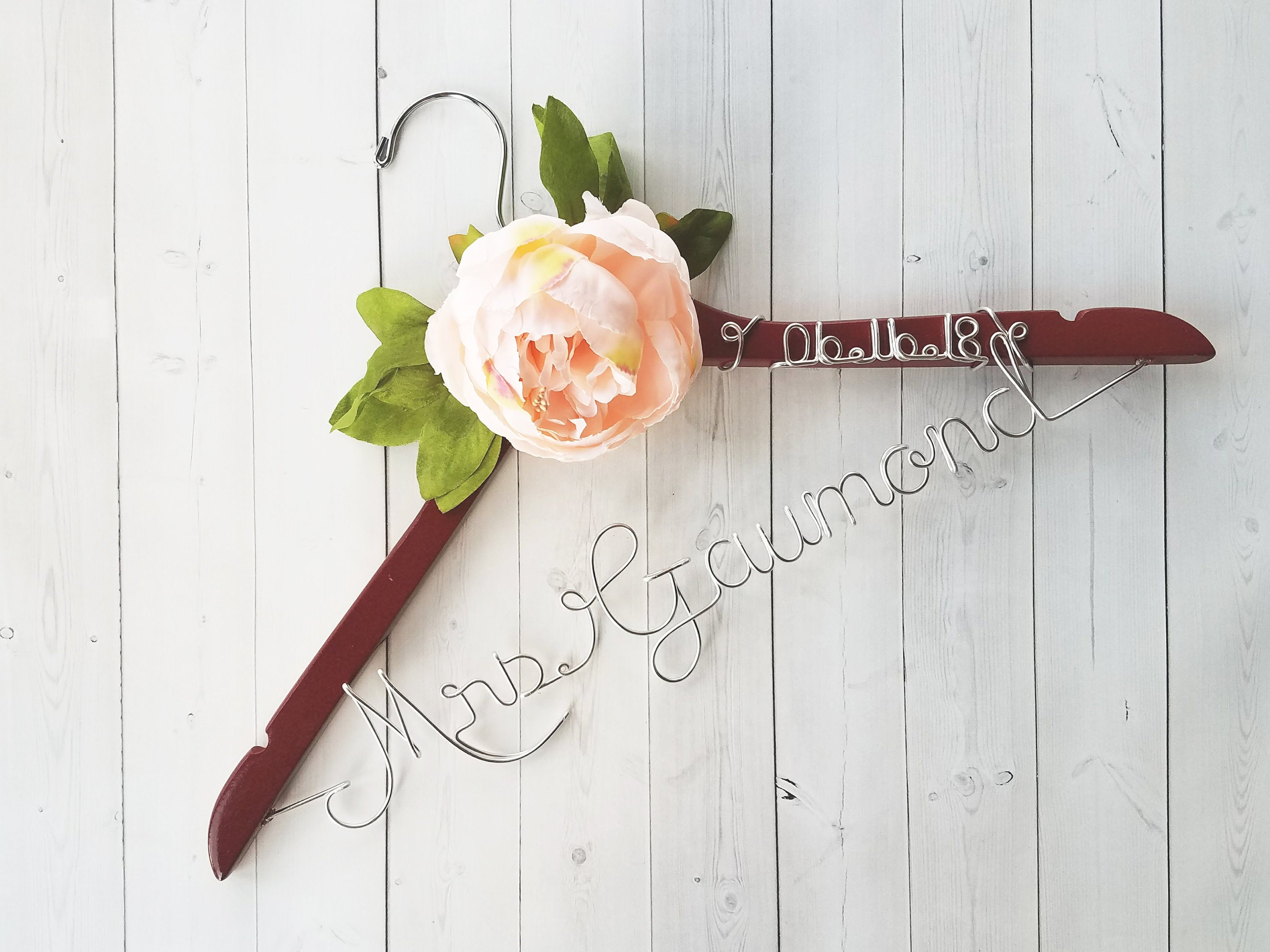 Bride Hanger With Date and Peonies