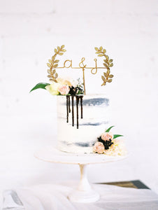 Initials with Laurel Wire Wedding Cake Topper