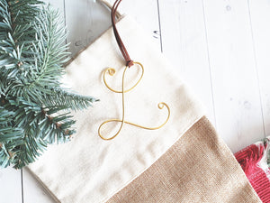 Custom Wire Initial Stocking Tag L