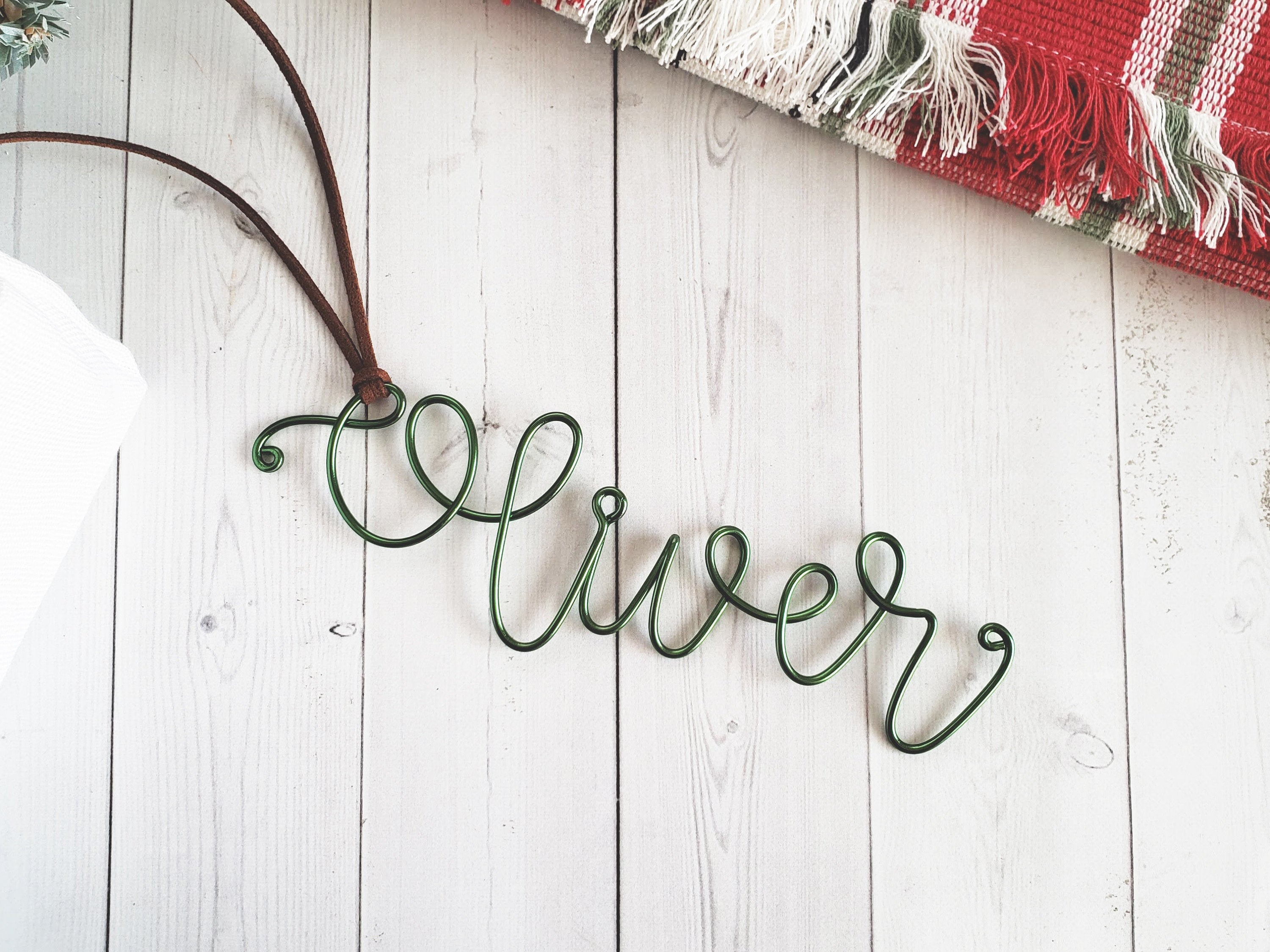 Custom Wire Name Stocking Tag (Oliver)