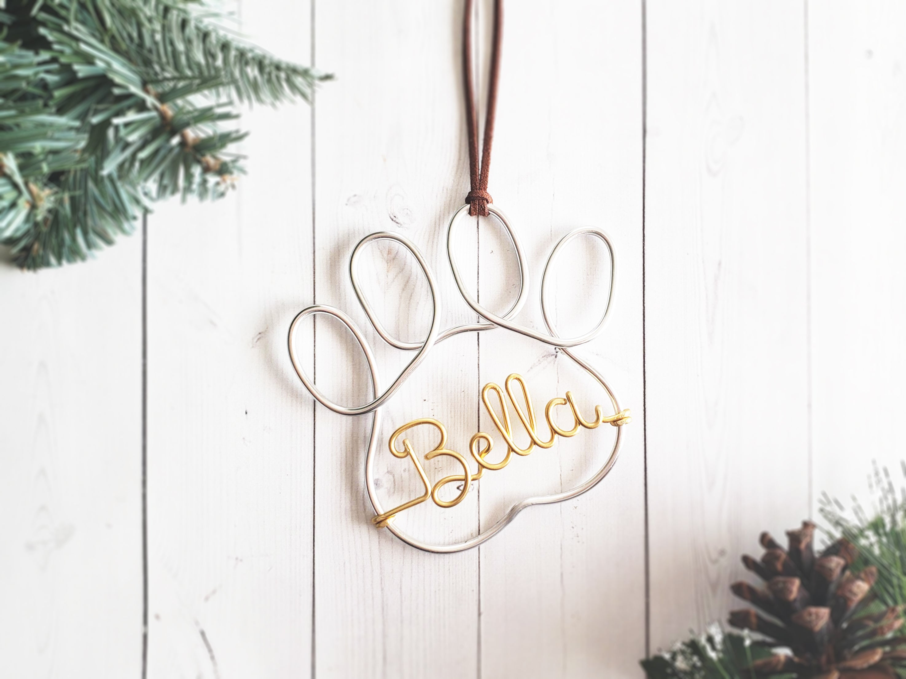 Custom Pet Paw Name Ornament