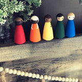 Rainbow Diverse Large Wooden Hand Painted Peg Doll Set