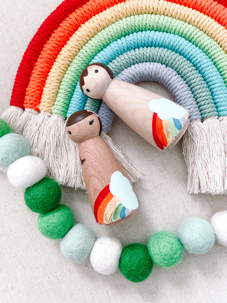*Pre-Order* Rainbow Natural Wood Hand Painted Peg Doll