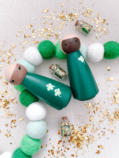 *Pre-Order* St. Patrick's Day Four Leaf Clover Shamrock Hand Painted Wooden Peg Dolls
