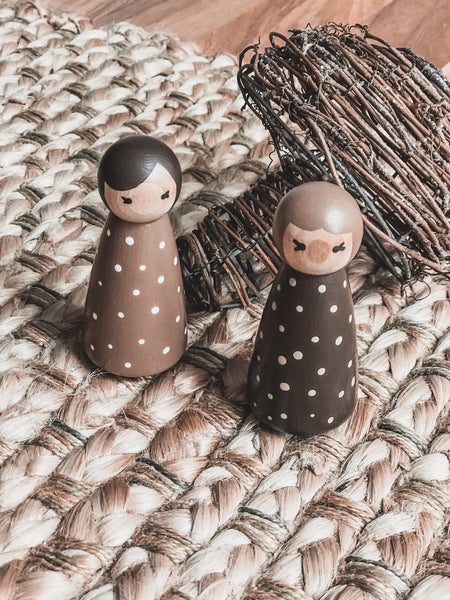 Polka Dot Twins Wooden Hand-painted Peg Doll Set