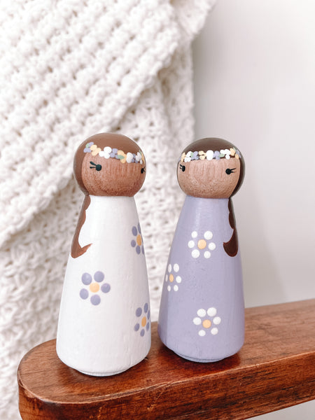 Flower Power Lilac Wooden Hand-painted Peg Dolls