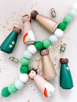 St. Patrick's Day Four Leaf Clover Shamrock Hand Painted Wooden Peg Dolls
