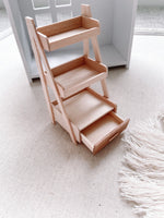 Wooden Ladder Shelf with Drawer Dollhouse Furniture 1/12 Scale