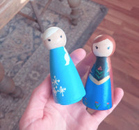 Princess Inspired Hand Painted Wooden Peg Dolls