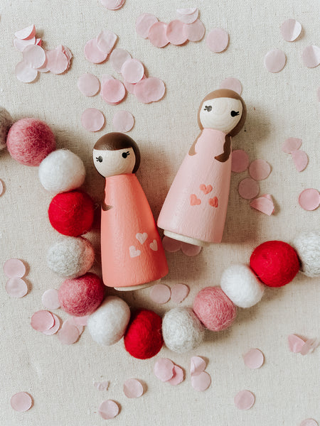 *PRE-ORDER* Heart Twins Wooden Hand Painted Peg Doll Set