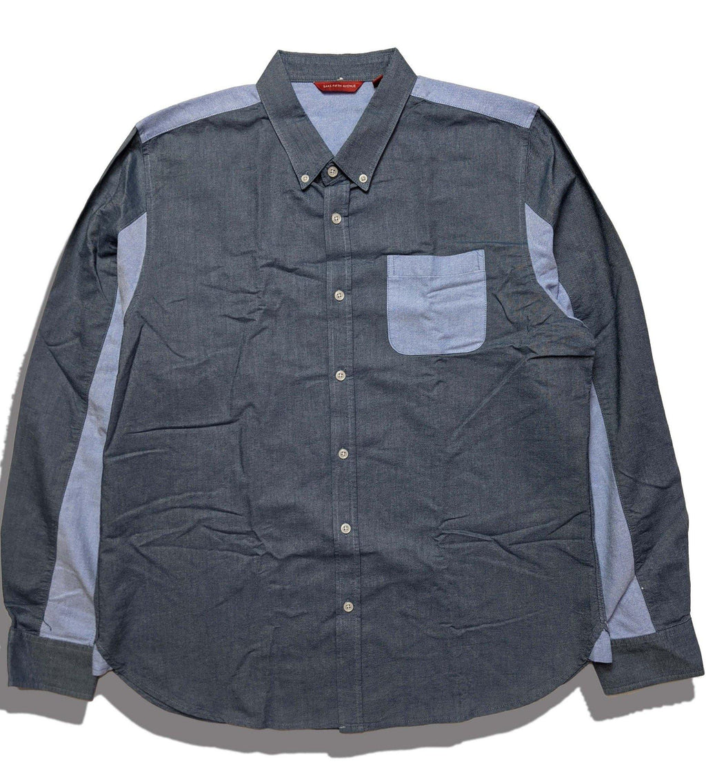 00s Saks Fifth Avenue Design Shirt   -Saxe Blue×Gray【XL】 - onyourmark
